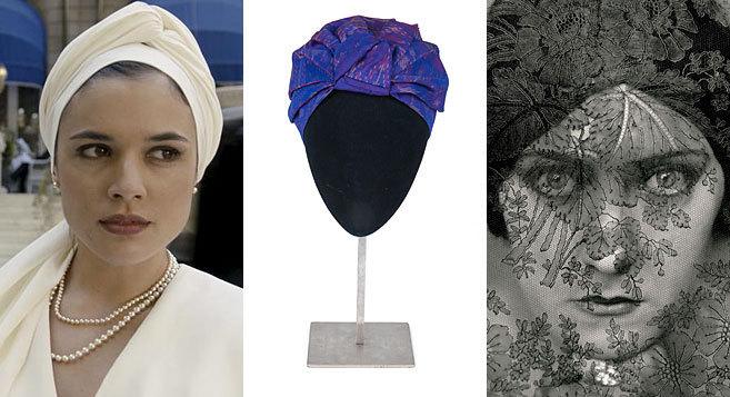 Adriana Ugarte, como Sira Quiroga, turbante de Mimoki y Gloria Swanson, retratada por Steichen.